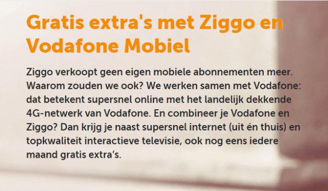 Ziggo verkoopt geen eigen mobiele abonnementen meer