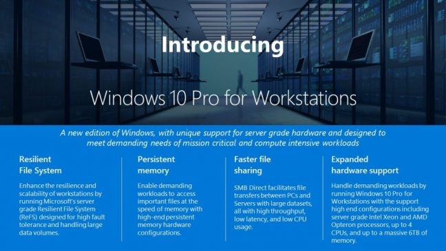 Microsoft onthult Windows 10 Pro voor Workstations